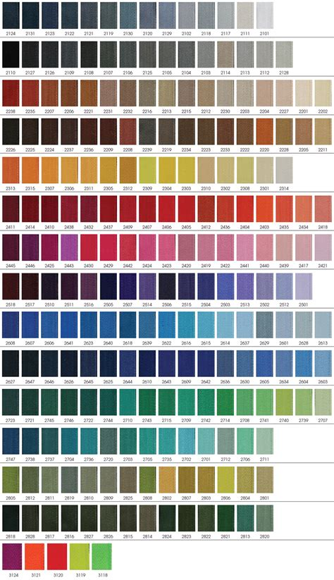tone color riri zipper color chart