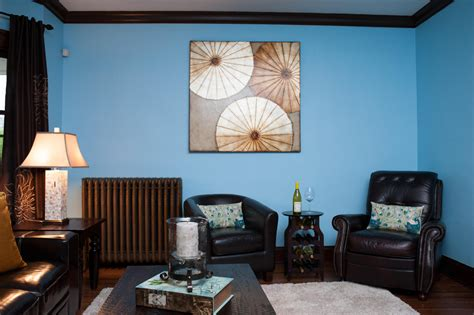 blue living room wall paint ideas combine with brown wood furniture also decorative
