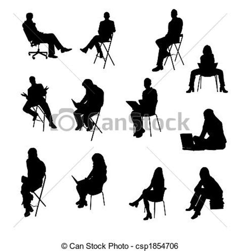 silhouette persone sedute silhouettes of sitting business stock illustration