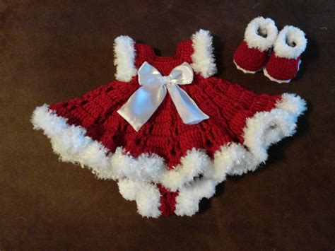 christmas pattern dress crochet christmas baby dress outfit beautiful on baby