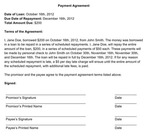 Agreement Letter For Late Payment Payment Agreement Contract For Excel Pdf And Word