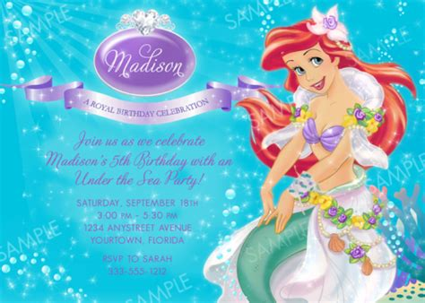 printable birthday invitations ariel 5 best images of printable ariel party little mermaid