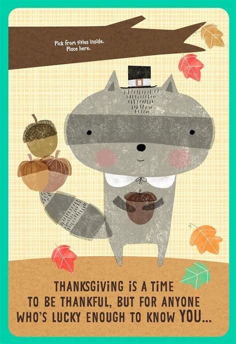 Raccoon Thanksgiving Card for Kids with Customizable