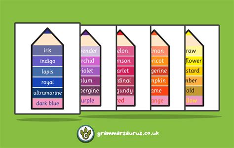 colors synonym colour synonym poster pack grammarsaurus
