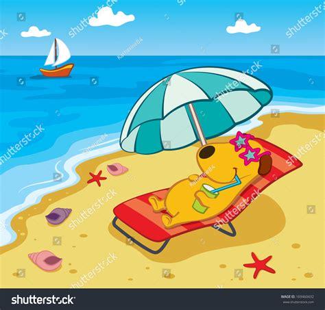 Inflatable Beach Chair Cartoon Dog On Beach Stock Vector 169460432 Shutterstock