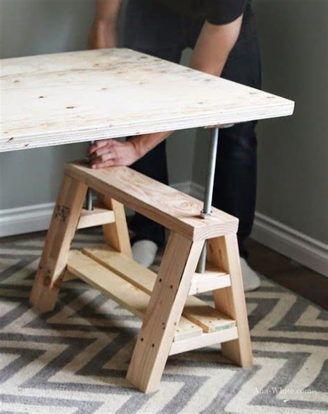 learn how to build an adjustable sawhorse desk free plans