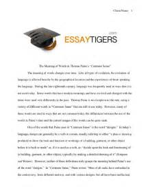 Common Sense Essay the meaning of words in paine s common sense essay sle