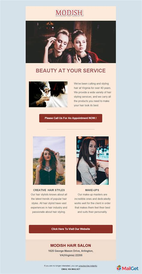 10 Best Free Hair Salon Email Newsletters Templates Mailget Salon Templates Free