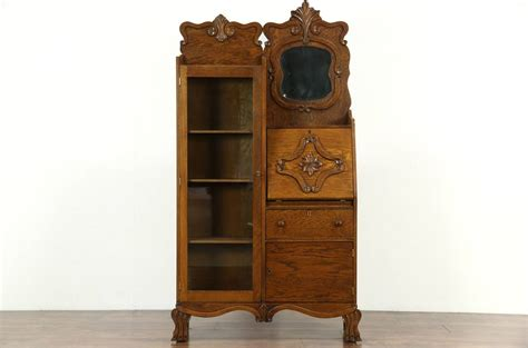 secretary desk with bookcase victorian antique 1900 carved oak by secretary