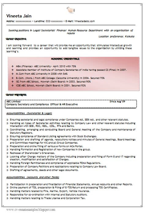 finance resume format experienced 10000 cv and resume sles with free