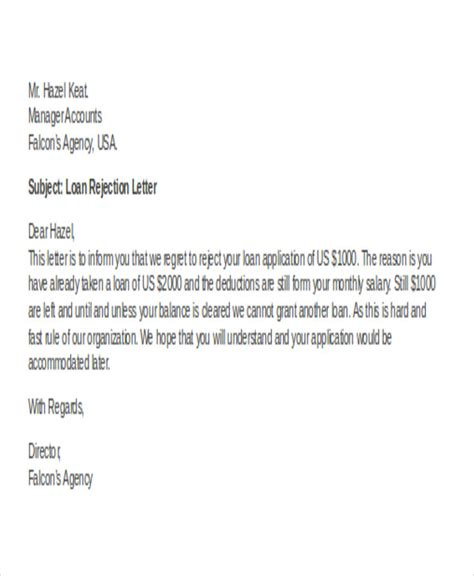 Loan Deduction Letter Format 36 rejection letter pdf free premium templates