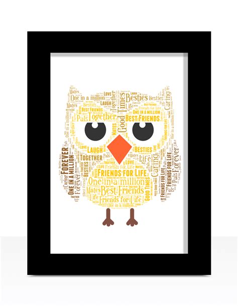personalised owl word gift abc prints