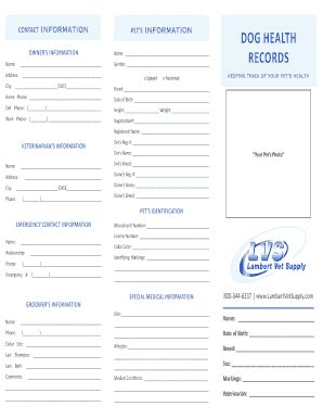 pet health record template health records fill printable fillable