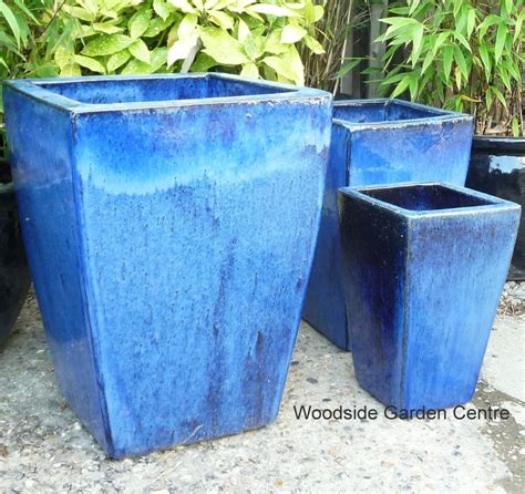 blue planter large blue glazed garden tapered pot planter pots essex ebay
