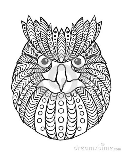owl head coloring page eagle owl head adult antistress coloring page stock
