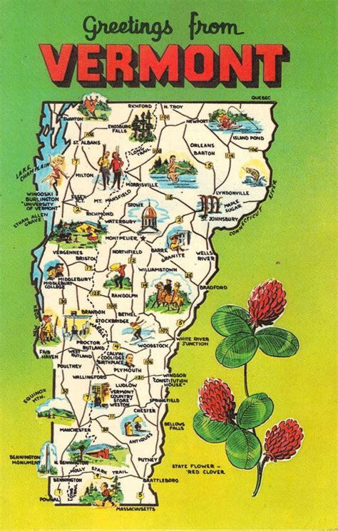 vermont united states map vermont state map vintage postcard greetings from by