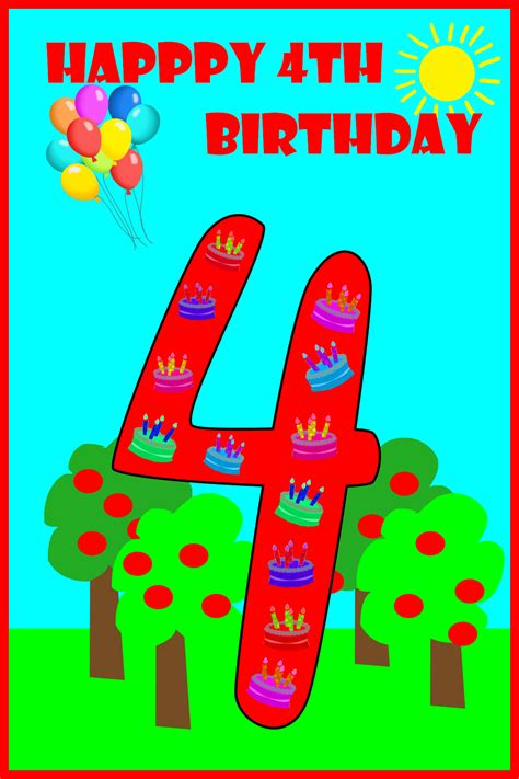 4 Year Birthday Card Message Happy 4th Birthday To My Birthday Party Ideas For Kids