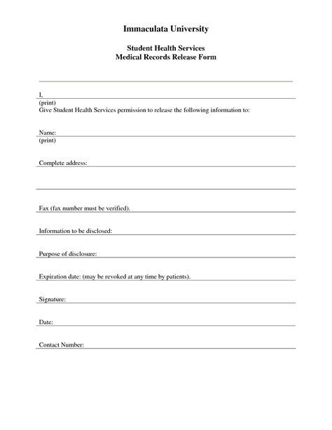 medical records hipaa standard release form release forms