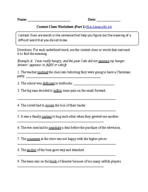 Context Clues Worksheets 4th Grade by 4th Grade Common Reading Literature Worksheets