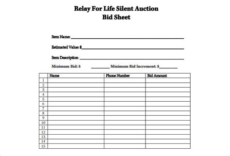 bid day card template sle silent auction bid sheet screnshoots