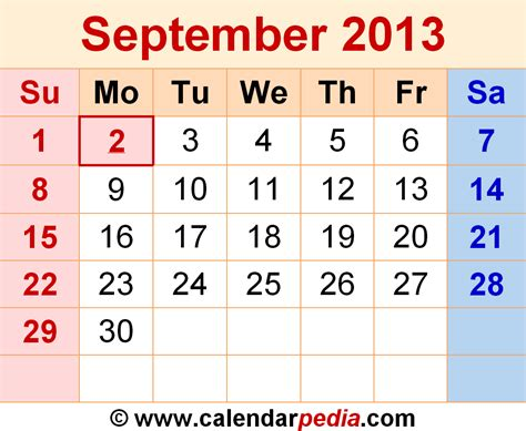 Calendar September 2013 September 2013 Calendars For Word Excel Pdf
