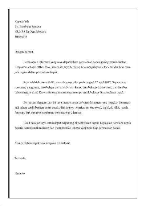 Contoh Surat Lamaran Kerja Ke Rumah Sakit Dalam Bahasa