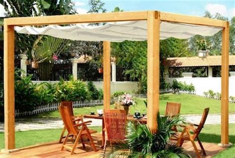Roll Out Patio Covers by Wooden Pergola Kits
