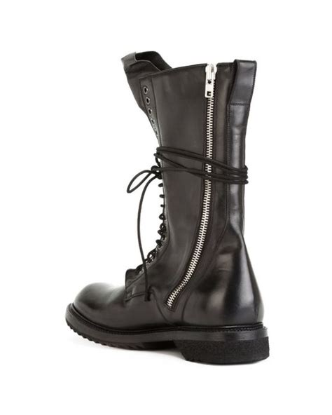 rick owens combat boots rick owens lace up leather combat boots in black for
