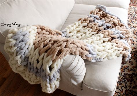 knit diy diy arm knit striped rib stitch blanket simplymaggie