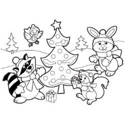 christmas scene colouring pages