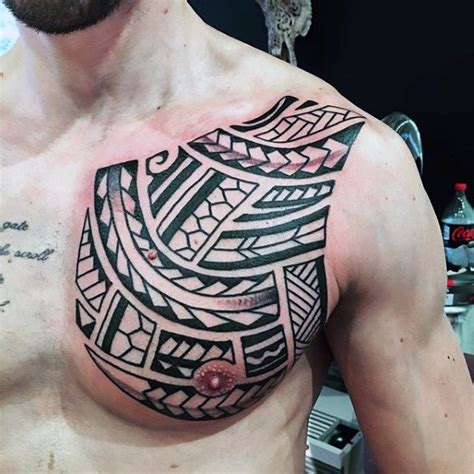 tribal tattoos shoulder chest and back 50 tribal chest tattoos for masculine design ideas