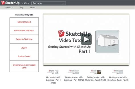 tutorial google sketchup moveis sketchup getting started video tutorials 4 videos http