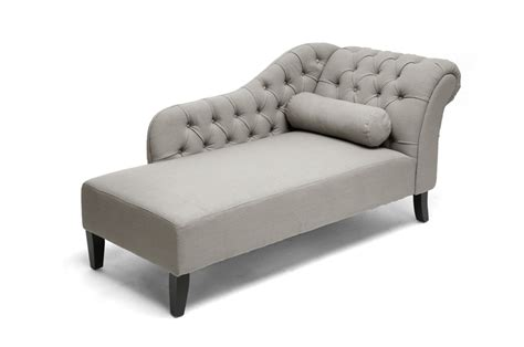 Aphrodite Tufted Putty Gray Linen Modern Chaise Lounge
