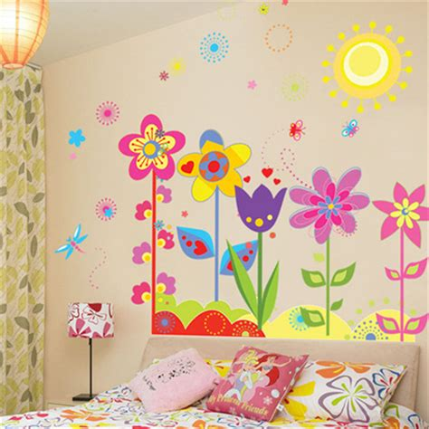 childrens removable wall stickers aliexpress buy color flower sun kindergarten