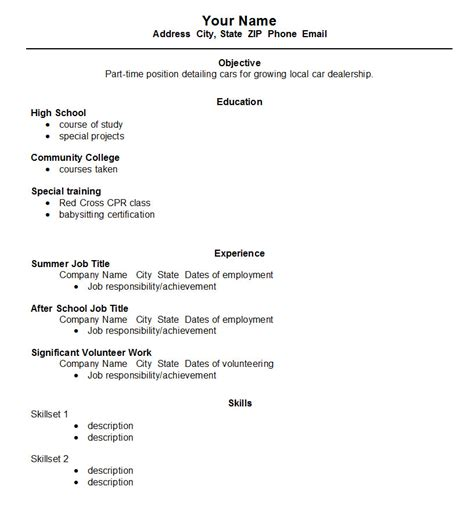 12 easy high school resume samples no experience within for