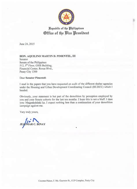 Resignation Letter Format Philippines Binay Writes Pimentel Be A