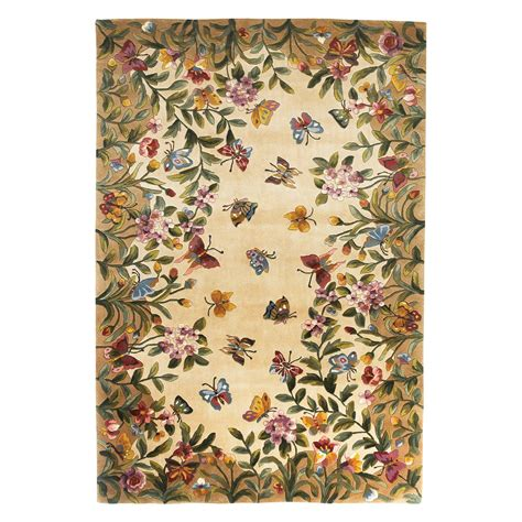 Butterfly Area Rugs Kas Rugs Emerald 9019 Butterfly Garden Area Rug Antique Beige Area Rugs At Hayneedle