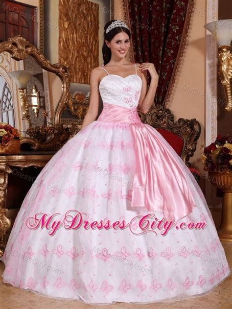 Mixco Dress spaghetti straps pink and white quinceanera gowns