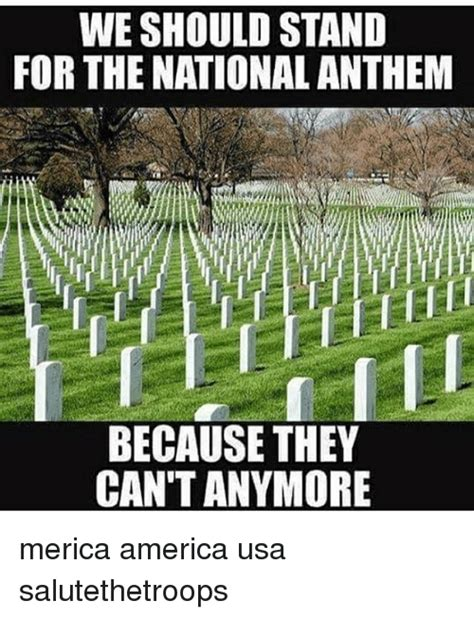 What Does Meme Stand For - we should stand for the nationalanthem because they can t