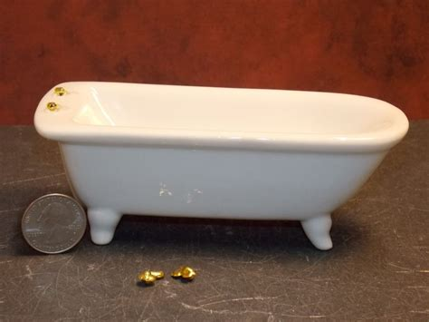 dollhouse bathtub dollhouse miniature ceramic bath tub broken faucets 1 12