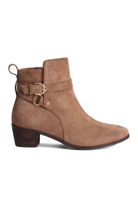 h m suede boots in brown light brown lyst