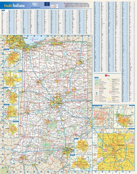indiana road map with cities large detailed roads and highways map of indiana state