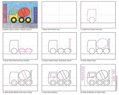 Draw A Cement Truck Art Projects For Kids