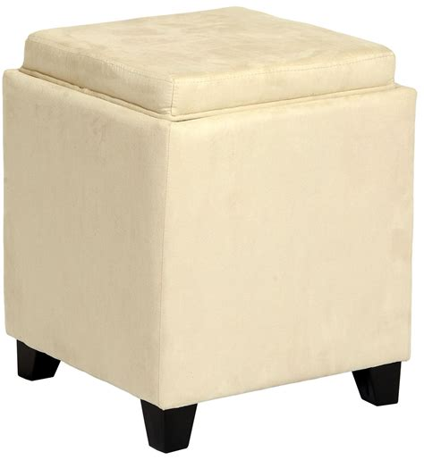 Rainbow Cream Microfiber Storage Ottoman From Armen Living Microfiber Storage Ottoman
