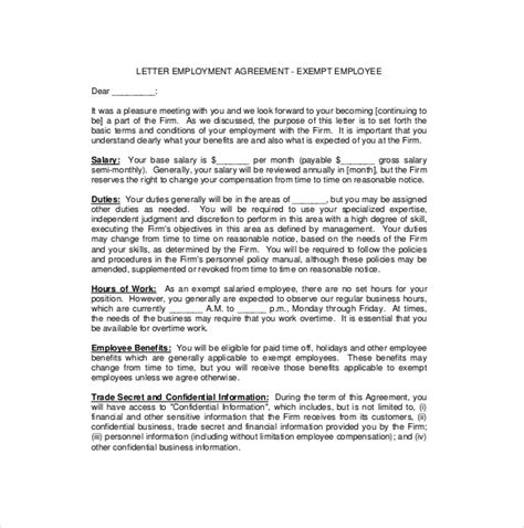 Sle Of Contract Letter Of Employment Employee Agreement Templates 11 Free Word Pdf Document Free Premium Templates