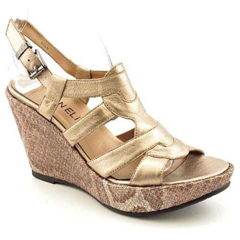 vaneli emberly gold narrow open toe leather wedge sandals