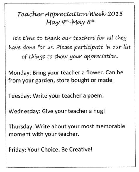 letter to teachers for appreciation week appreciation week may 4 may 8 maples elementary