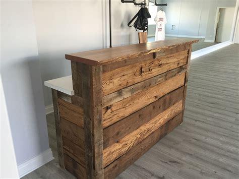 rustic reception desk made reclaimed barnwood reception desk by m karl llc
