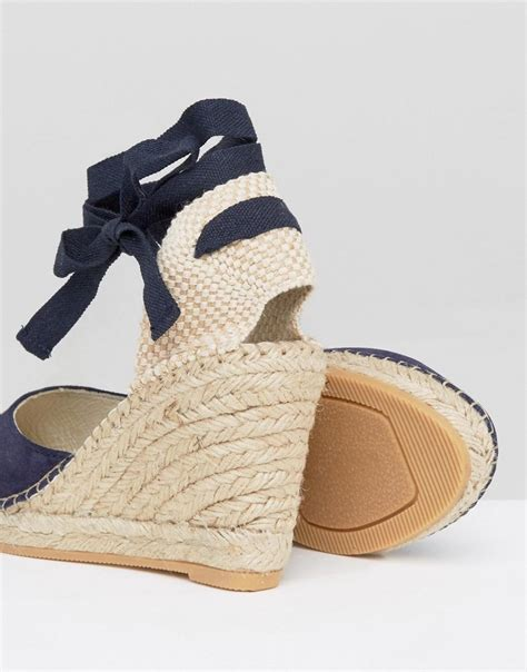 park suede tie ankle espadrille wedge in blue lyst