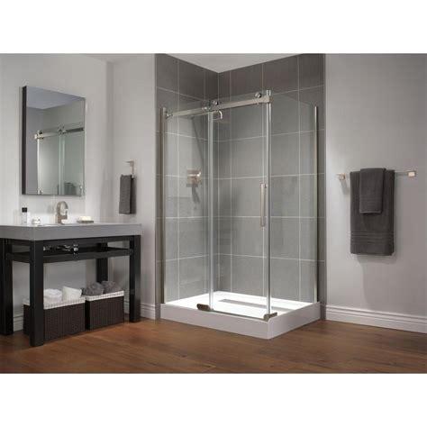 Shower Doors Ta Delta 48 In X 72 In Semi Framed Sliding Shower Door In Stainless B912912 4836 Ss The Home Depot